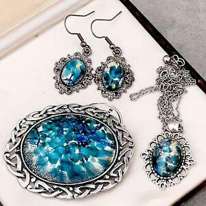 RARE-Vintage-Green-Blue-Fire-Opal-Glass-Celtic-Knot-Large-Brooch-Earring-Set