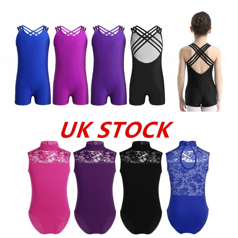 UK Girls Ballet Gymnastics Leotards Cutout Back Tank Dance Wear Bodysuit Costume