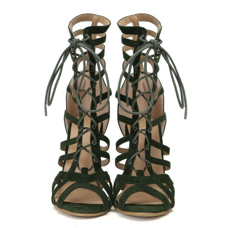 UK Women Strappy Hollow Sandals High Heel Peep Toe Toe Toe Green Fashion shoes Stilettos 0cbf4e