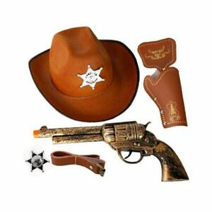 Halloween-Western-Cowboy-Gun-amp-Holster-Set-with-Sheriff-Badge-and-Belt-Hat