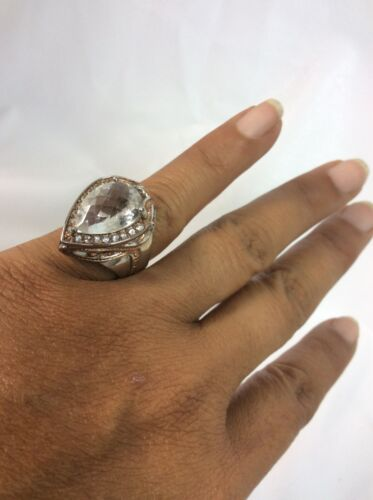 Belle Michael Valitutti NH Argent Sterling 925 2 Tons Teardrop Ring Taille 6