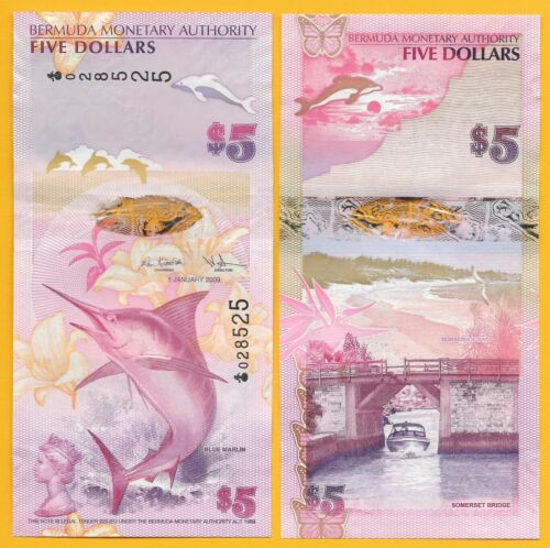 Bermuda 5 Dollars p-58 2009 UNC Banknote