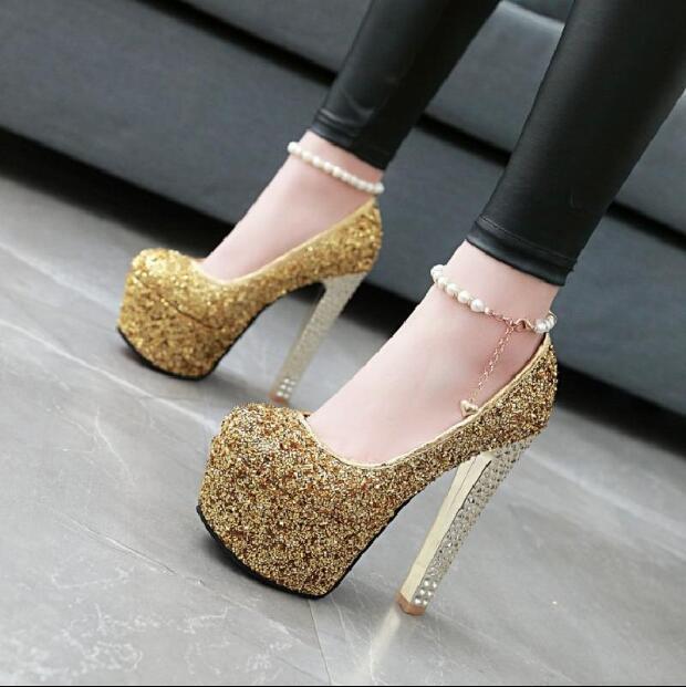 Womens Sequins Chunky High Heels Pearls Chains Platform shoes Pumps Wedding gic0