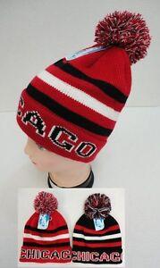 CHICAGO Beanie PomPom Hat Winter Toboggan Knit w POM Black Red White ... ef212085b05