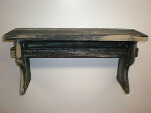 Wood Rustic Black Weathered Look 9 Peg Shelf Primitive