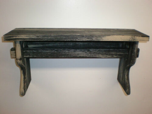 "Black Weathered Looked Towel//Quilt Shelf 19/"" Long Primitive Rustic"