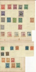 """Honduras: Lot of 65 diff. stamps on sheets of paper used and unused """"As Is"""".. 01"""