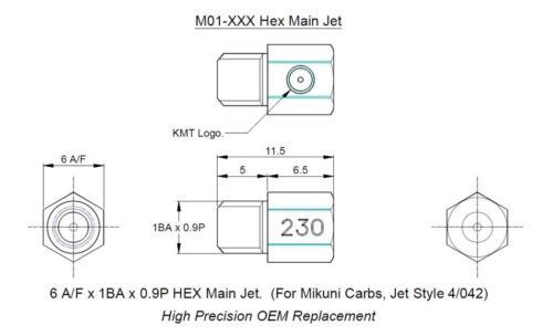 KMT Mikuni type 4//042 M01 main hex carb jet Made in UK. Sizes 50-720