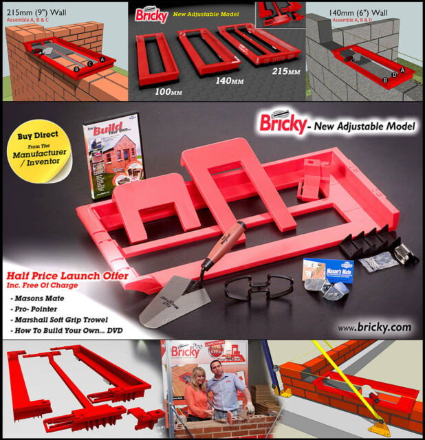 """Adjustable to build all standard wall sizes 4/"""" 6/"""" /& 9/"""". Bricky Pro"""
