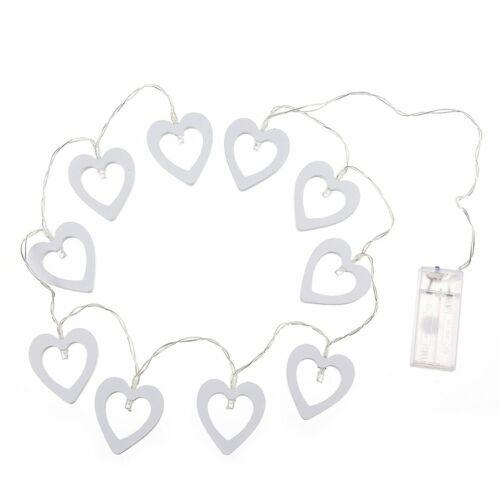 10 Head Wood Heart Shaped Battery box lamp string Christmas tree Decoration+/%