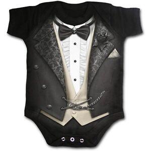 6ae0a407a6e0 SPIRAL DIRECT Tuxed babygrow baby grow suit tuxedo goth skull ...