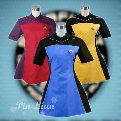 Star Trek TNG Blau Kleid Uniform Karneval Fasching Party Cosplay Kostüm