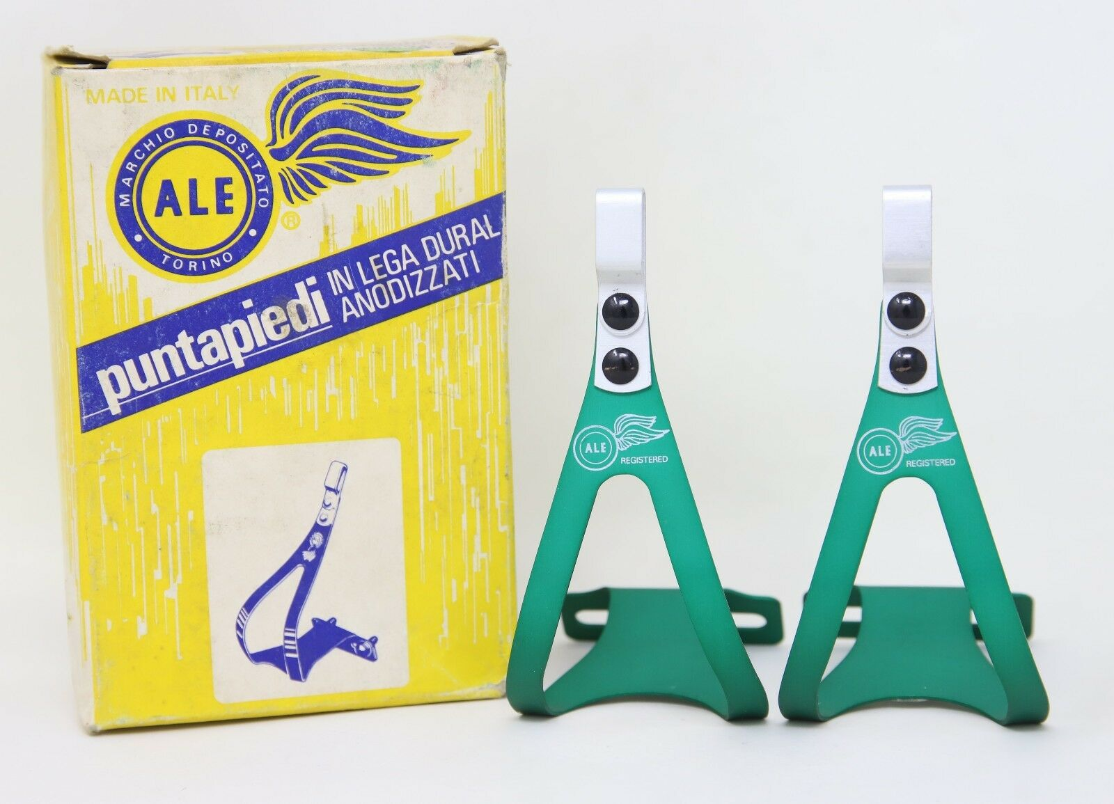 NOS ALE 97 L.D TOE CLIPS ALLOY GREEN CAMPAGNOLO SUPER RECORD QUILL PEDALS SIZE S
