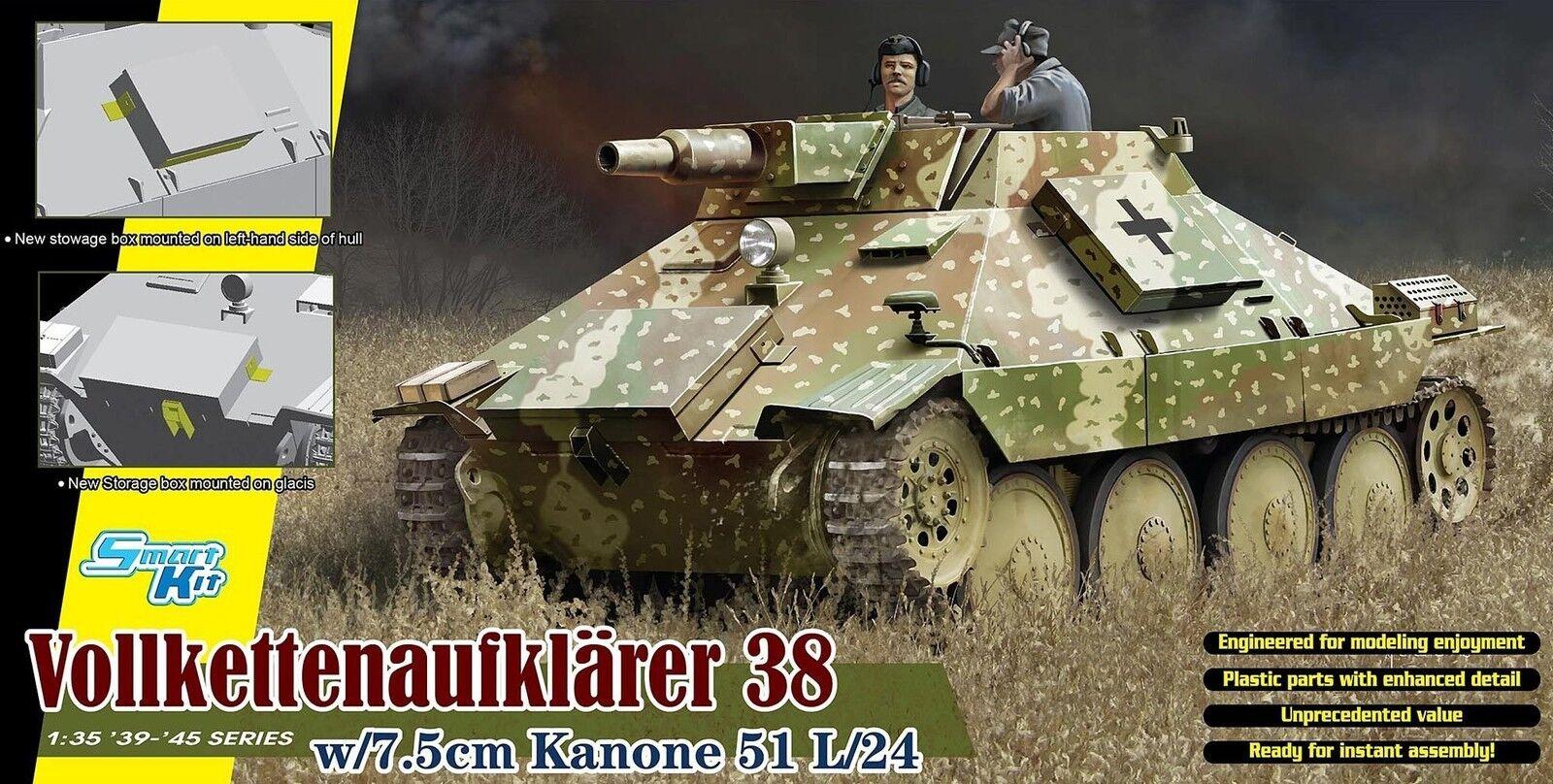 Dragon 1 3 5 6815  vollkettenaufklärer 38 with 7.5cm Canon 51 L 24
