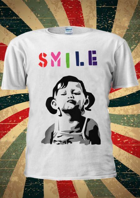 Banksy Smile Girl Cute SMILE T Shirt Men Women Unisex 630