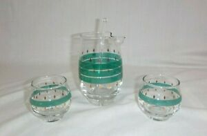 Vtg-Mid-Century-4-pc-Libbey-Cocktail-Bar-Set-Pitcher-Roly-Poly-Glasses-Turquoise