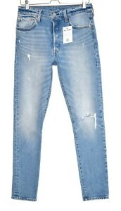 Damen-Levis-501-SKINNY-High-RISE-Ripped-Blue-Stonewashed-Jeans-Groesse-10-w29-l32