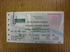 16/12/1995 Rugby Union Ticket: England v Western Samoa [At Twickenham] (folded)