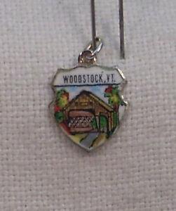 Vintage REU Sterling//Enamel Woodstock New York Bracelet//Travel Charm