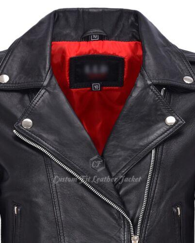 Femmes Cuir Veste De Motard Noir Brando Style Classique Veste courte longueur MB130
