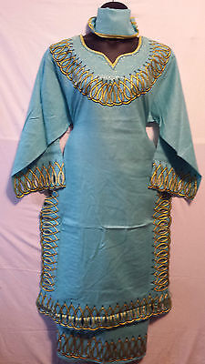 Women African Clothes Long Dashiki Skirt Suit Sea Green Gold Free Size