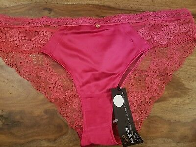 NEW M/&S AUTOGRAPH ROSIE LUXURIOUS SILK /& LACE  BRAZILIAN SIZE 16 IN  DARK RED
