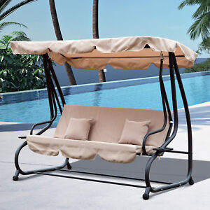 Outsunny-Garden-Swing-Chair-Canopy-Bed-3-Seater-Patio-Hammock-Bench-Lounger-New