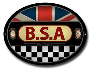 BSA B21 SPORTS OVAL METAL SIGN.OFFICIALLY LICENSED B.S.A PRODUCT. &™ BSA