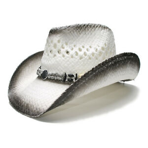 8f7ec6fe0f9 Summer Straw Beach Wide Brim Cowboy Western Cowgirl Sun Hat Hollow ...