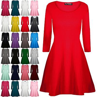 Kids Swing Dress Girls Plain Round Neck Long Sleeve Flared Franki Mini Dress Top