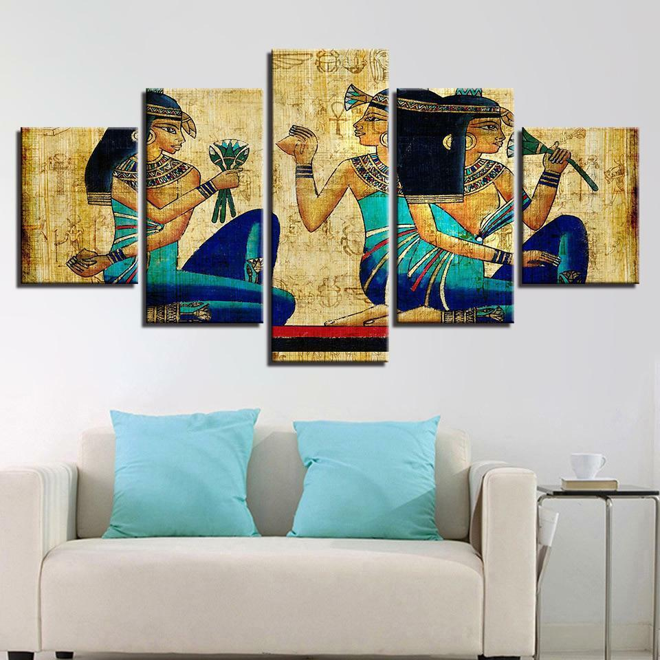 Wall Art Painting Old Egyptian Canvas Prints Home Decorations 5 Panels Classical