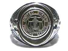 UNITED STATES MARITIME SERVICE DOUBLE EAGLE STERLING SILVER WWII SHIELD RING