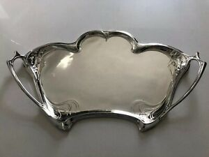 ANTIQUE-GERMAN-WMF-JUGENDSTIL-ART-NOUVEAU-SILVER-PLATED-BRASS-LARGE-SERVING-TRAY