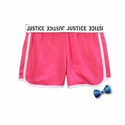 Justice Girl/'s Size 8 Fold-over Mesh Shorts in Bright Pink New with Tags