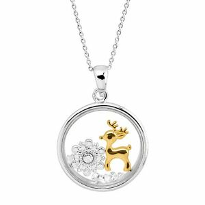 Snowflake & Gold-Plated Reindeer Holiday Crystal Shaker Pendant Sterling Silver
