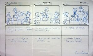 GARFIELD & FRIENDS Signed NORMAN QUEBEDEAU Prod HAND DRAWN Storyboard Page #NQ