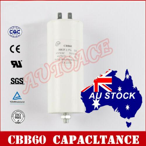 CBB60 50uF 8mm Thread White Polypropylene Film Start Capacitor AC450V OZ SELLER
