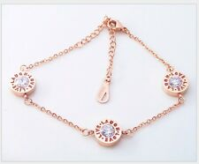 Stainless Steel 18K Rose Gold LOVE LIVE LAUGH Charm Fashion Chain Bracelet Gift