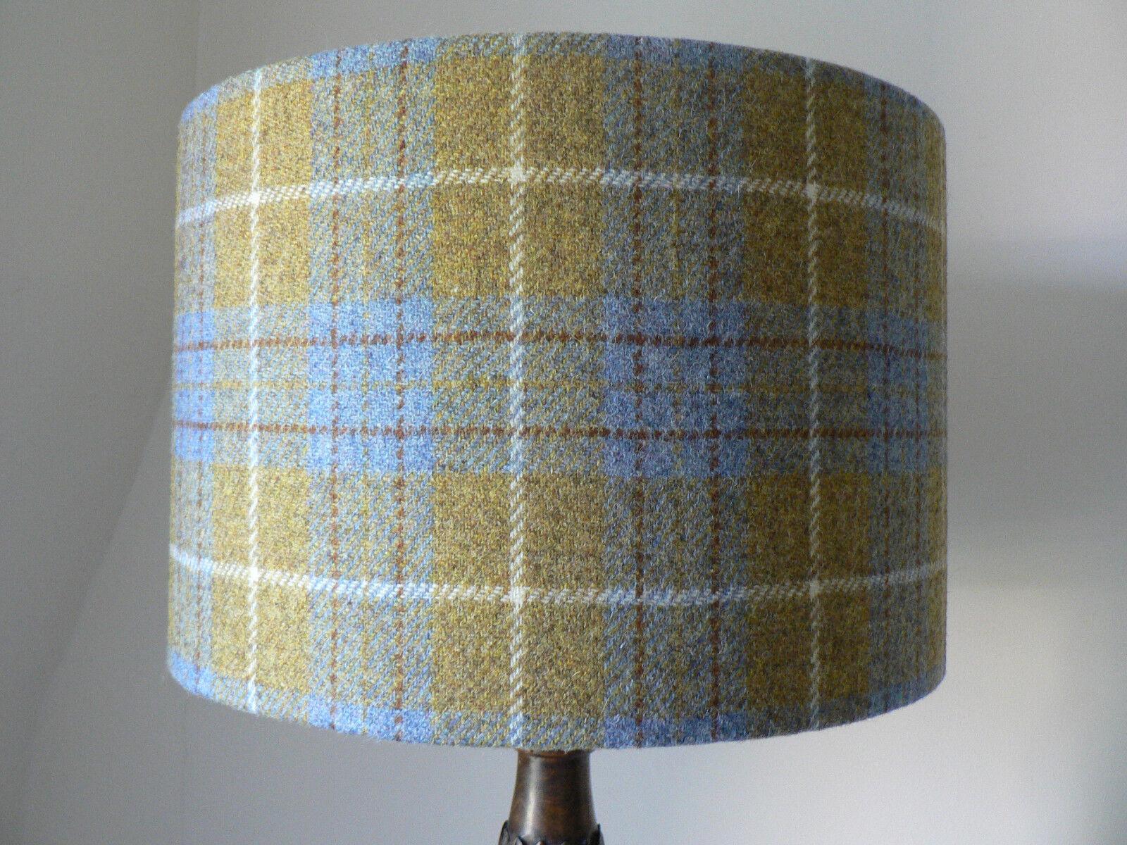 Handmade Harris Tweed Drum Lampshade - Mustard, Blau and Weiß Tartan