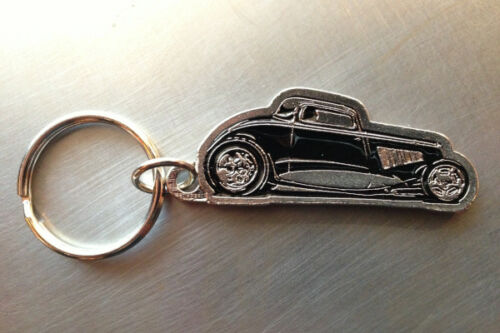 1934 Ford 3 Window Coupe Pewter Key Chain Squeeg/'s Hot Rod Connection