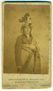 ca-1860-NATIVE-AMERICAN-INDIAN-CHIEF-PO-GO-NAY-KE-SHICK-by-WHITNEY-St-Paul-MN