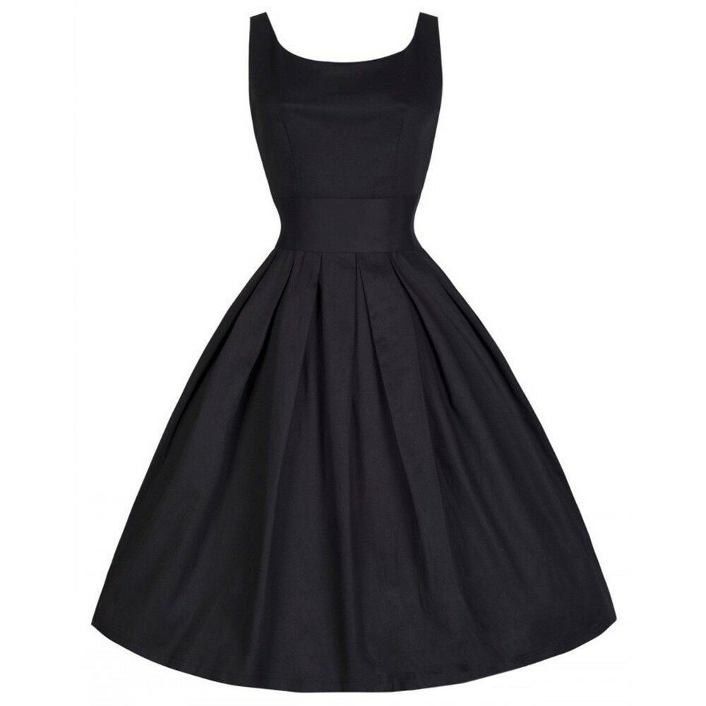 Vintage Années 50 Robe Hepburn Style color Unie Robe Boule black