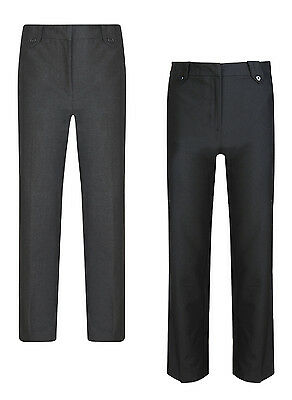 NEW Girls BHS Grey School Trousers Uniform Pull Ups Elastic Waist