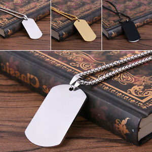 Stainless-Steel-Charm-Jewelry-Mens-Military-Dog-Tag-Pendant-Chain-Necklace-Hot