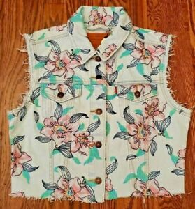 Levis-Premium-Denim-Cropped-Bloom-Vest-Women-039-s-Size-Medium-NEW-WITH-TAGS