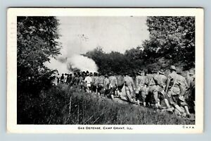 Camp-Grant-IL-Army-Soldiers-Practice-Gas-Defense-WWII-c1942-Illinois-Postcard