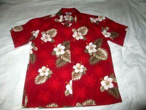 Pacific-Legend-Authentic-Hawaiian-Shirt-Men-039-s-XL-Floral-Pattern-100-Cotton-Red