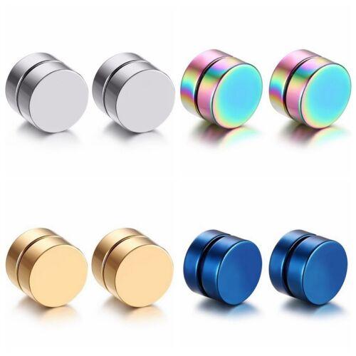 Men Stainless Steel No Piercing Magnetic Clip On Ear Studs Earrings Hot Sale
