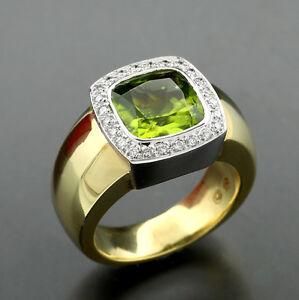 Peridot-brillante-anillo-4-35-carat-oro-amarillo-585-16-Gramm-pesado-38567