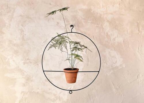 Jara Terracotta Plante Pot et Circulaire Cercle Iron Hanging Planter nkuku
